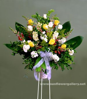 funeral flower standing spray