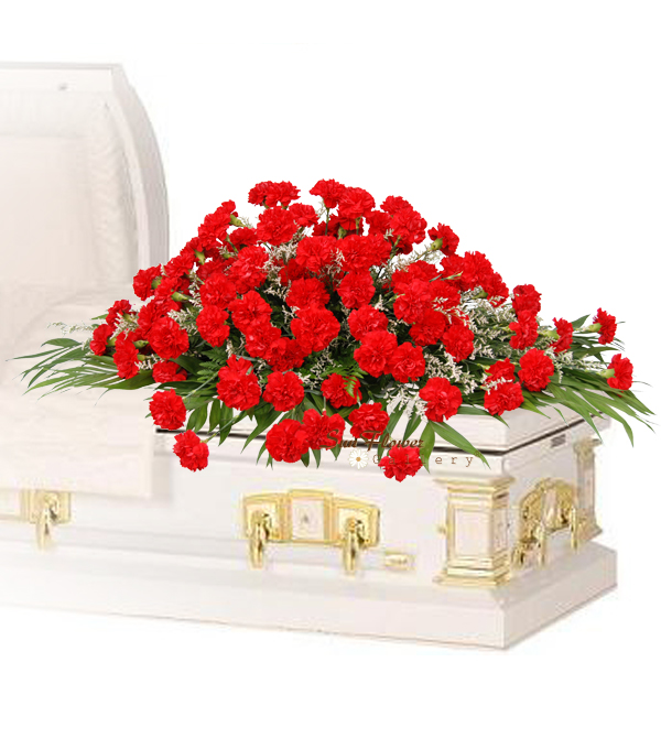 red carnation casket spray delux from Say Rose