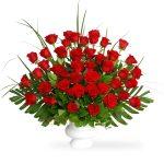 red rose basket