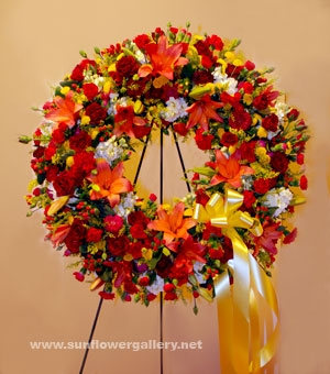 yellow and red funeral wreath_big